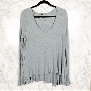Free People Gray Long Sleeve Thermal Waffle Knit M